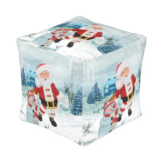 Funny Santa Claus with snowman Pouf