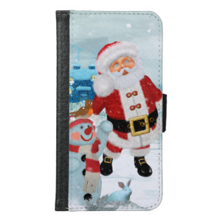 Funny Santa Claus with snowman Samsung Galaxy S6 Wallet Case