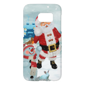 Funny Santa Claus with snowman Samsung Galaxy S7 Case