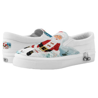 Funny Santa Claus with snowman Slip-On Sneakers