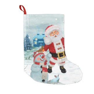 Funny Santa Claus with snowman Small Christmas Stocking