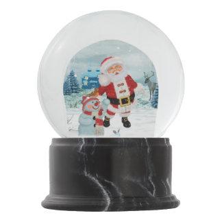 Funny Santa Claus with snowman Snow Globe