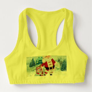 Funny Santa Claus with snowman Sports Bra