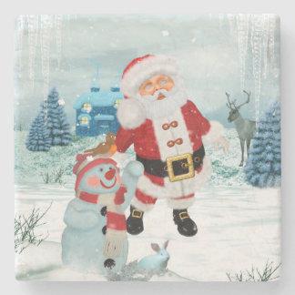 Funny Santa Claus with snowman Stone Coaster