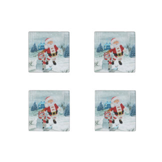 Funny Santa Claus with snowman Stone Magnets