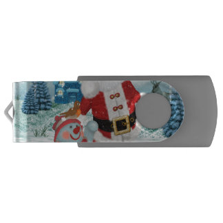 Funny Santa Claus with snowman Swivel USB 2.0 Flash Drive