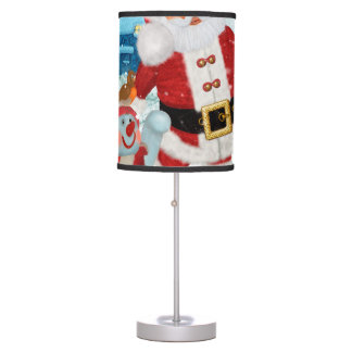 Funny Santa Claus with snowman Table Lamp