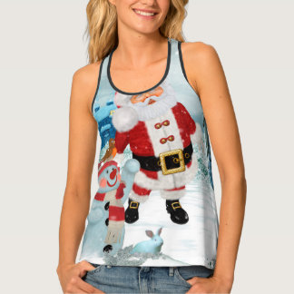 Funny Santa Claus with snowman Tank Top