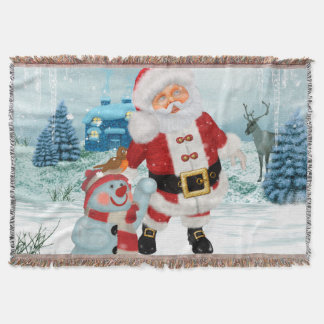 Funny Santa Claus with snowman Throw Blanket