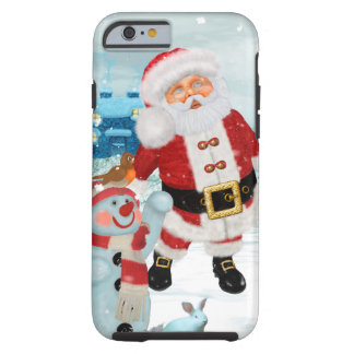Funny Santa Claus with snowman Tough iPhone 6 Case
