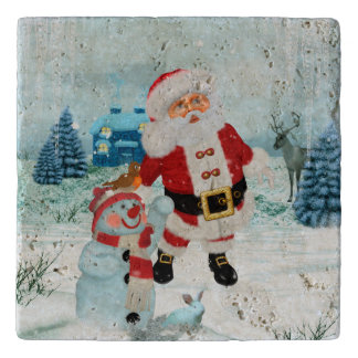Funny Santa Claus with snowman Trivet