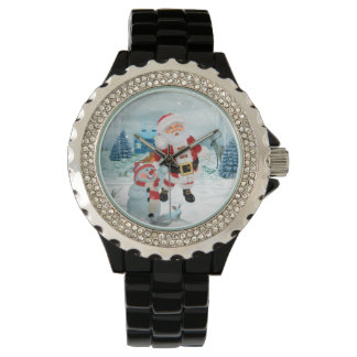 Funny Santa Claus with snowman Watch