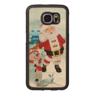 Funny Santa Claus with snowman Wood Phone Case