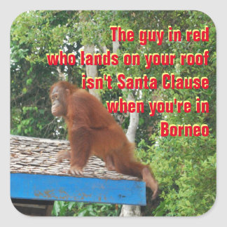Funny Santa Clause Christmas Square Sticker