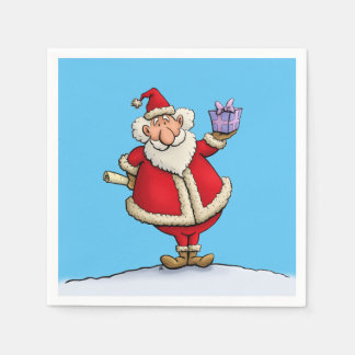 funny santa gift delivery christmas cartoon paper napkins