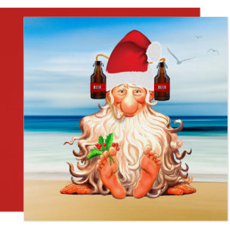 Funny Santa Gnome in a Beer Santa Hat on the Beach Card