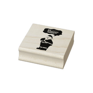 Funny Santa had to much turkey Design Rubber Stamp