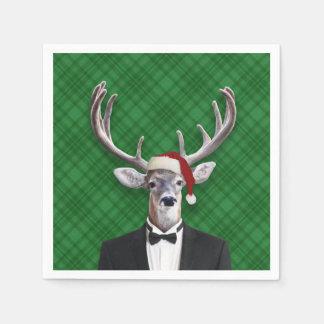 Funny Santa Hat Christmas Deer Green Plaid Disposable Napkin