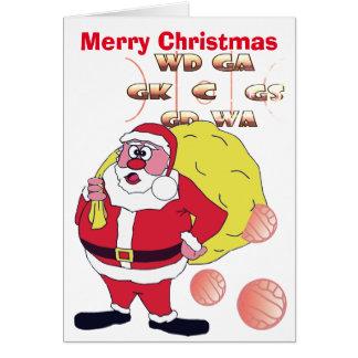 Funny Santa Netball Christmas Greeting Card