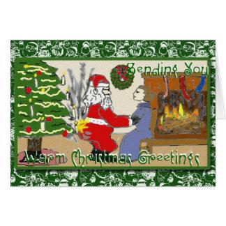 Funny Santa on Fire Christmas card