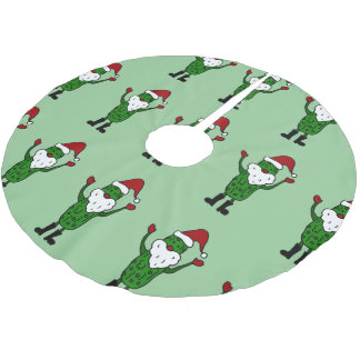 Funny Santa Pickle Christmas Tree Skirt
