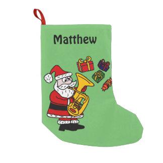 Funny Santa Playing Tuba Christmas Stocking Small Christmas Stocking