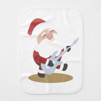 Funny Santa Rocker Musician Guitar Christmas Gift Burp Cloth