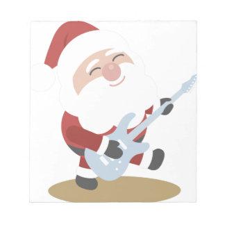 Funny Santa Rocker Musician Guitar Christmas Gift Notepads
