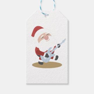 Funny Santa Rocker Musician Guitar Christmas Gift Pack Of Gift Tags