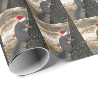 Funny Santa Squirrel Wrapping Paper