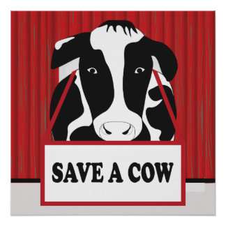 Funny Save a Cow 20x20 Poster