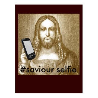 Funny Save Yourself Parody Saviour Selfie Postcard