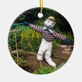 Funny scarecrow ceramic ornament