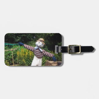 Funny scarecrow luggage tag