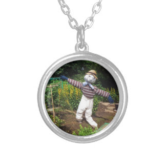 Funny scarecrow silver plated necklace
