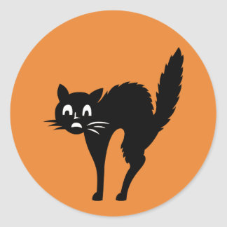 Funny Scared Black Kitty Cat Halloween Sticker