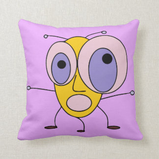 Funny Scared Bug with Big Eyes Design Throw Pillow