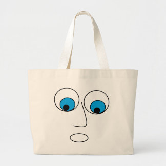 Funny Scared Cartoon Man's Face Design Large Tote Bag