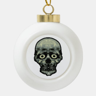 Funny Scared Skull Artwork Ceramic Ball Christmas Ornament