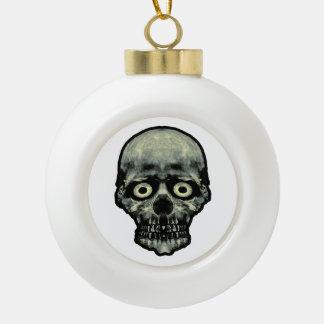 Funny Scared Skull Artwork Ceramic Ball Ornament