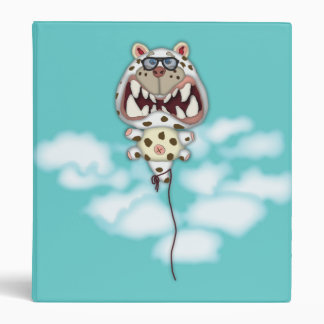 Funny Scared White Cat Balloon With Glasses Vinyl Binders