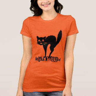 Funny Scary Black Cat Halloween Typography T-Shirt