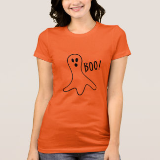 Funny Scary Ghost Halloween Party Black Orange T-Shirt