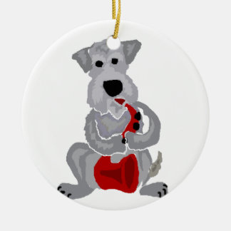 Funny Schnauzer Playing Red Saxophone Round Ceramic Ornament