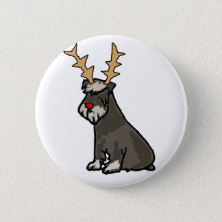 Funny Schnauzer with Reindeer Antlers Christmas 2 Inch Round Button