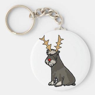 Funny Schnauzer with Reindeer Antlers Christmas Keychain