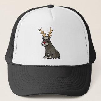 Funny Schnauzer with Reindeer Antlers Christmas Trucker Hat