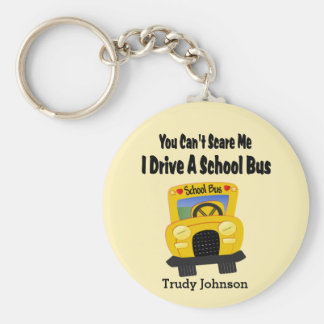 Funny School Bus Driver Key Ring Basic Round Button Keychain