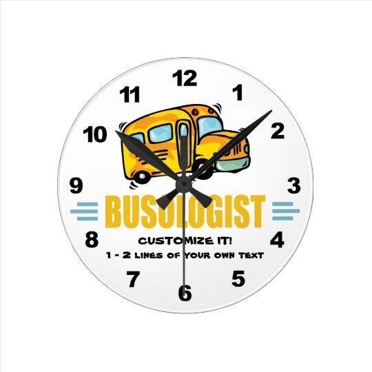 Funny School Bus Round Clock