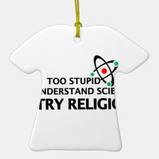 Funny Science VS Religion Double-Sided T-Shirt Ceramic Christmas Ornament